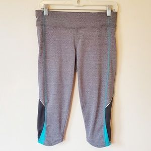 1e7b70972d748 Lucy Tech Gray & Blue Crop Athletic Workout Capris